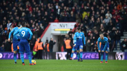 "Soccer Football - Premier League - AFC Bournemouth vs Arsenal - Vitality Stadium, Bournemouth, Britain - January 14, 2018   Arsenal's Jack Wilshere looks dejected after Bournemouth's Jordon Ibe scores their second goal    REUTERS/Dylan Martinez    EDITORIAL USE ONLY. No use with unauthorized audio, video, data, fixture lists, club/league logos or ""live"" services. Online in-match use limited to 75 images, no video emulation. No use in betting, games or single club/league/player publications.  Please contact your account representative for further details."