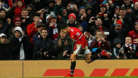 "Soccer Football - Premier League - Manchester United vs Huddersfield Town - Old Trafford, Manchester, Britain - February 3, 2018   Manchester United's Alexis Sanchez celebrates scoring their second goal    Action Images via Reuters/Lee Smith    EDITORIAL USE ONLY. No use with unauthorized audio, video, data, fixture lists, club/league logos or ""live"" services. Online in-match use limited to 75 images, no video emulation. No use in betting, games or single club/league/player publications.  Please contact your account representative for further details."